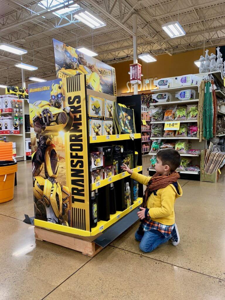 Photo of the Bumblebee Transformers display at Fred Meyer #bumblebeemovie #fredmeyerstores #transformers
