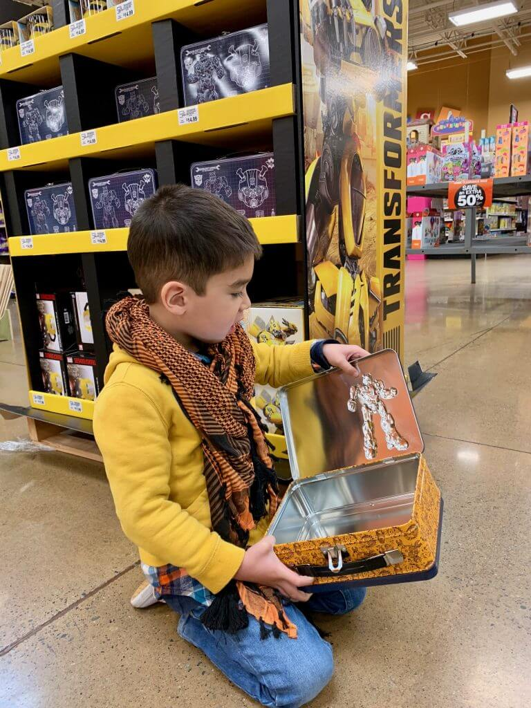 Photo of a Transformers Bumblebee tin tote that could be a lunchbox or toy storage #transformers #bumblebeemovie #fredmeyerstores