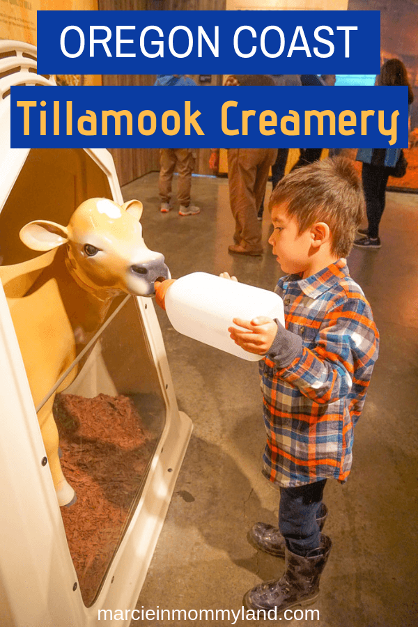 If you're traveling through Oregon with kids, plan a stop at the Tillamook Creamery in Tillamook, OR for kid-friendly activities and food. Click to read more or pin to save for later. www.marcieinmommyland.com #oregon #oregoncoast #tillamookcreamery #dairy #dairytour #travelwithkids