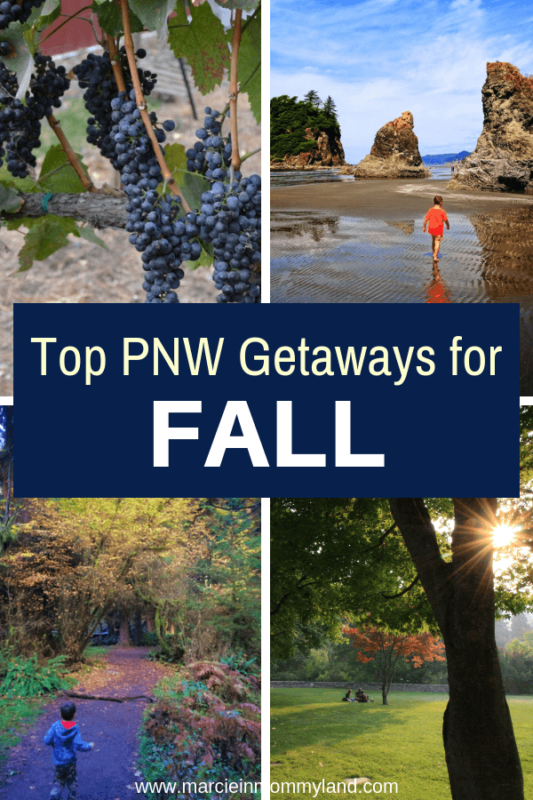 Want to explore a bit of the Pacific Northwest this fall? Find out the top PNW Getaways for September, October, and November. Click to read more or pin to save for later. www.marcieinmommyland.com #pnw #falltravel #familytravel #oregon #washingtonstate