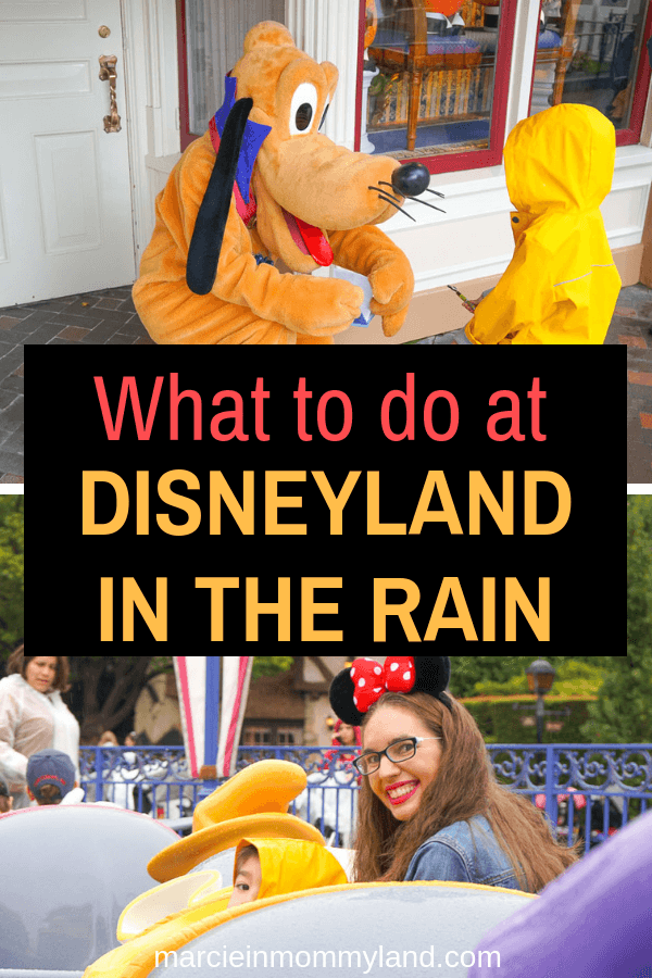 There's still Disney magic, even while it's raining at Disneyland! Find out exactly what to do at Disneyland in the rain to stay dry and have a blast! Click to read more or pin to save for later. www.marcieinmommyland.com #disneyland #disneysmmc #DLR