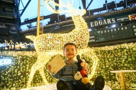 Photo of Enchant Christms, a new Seattle Christmas event at Safeco Field #enchantseattle #enchantchristmas #lightmaze | Top Seattle blogger, Marcie in Mommyland, reviews Enchant Christmas in Seattle