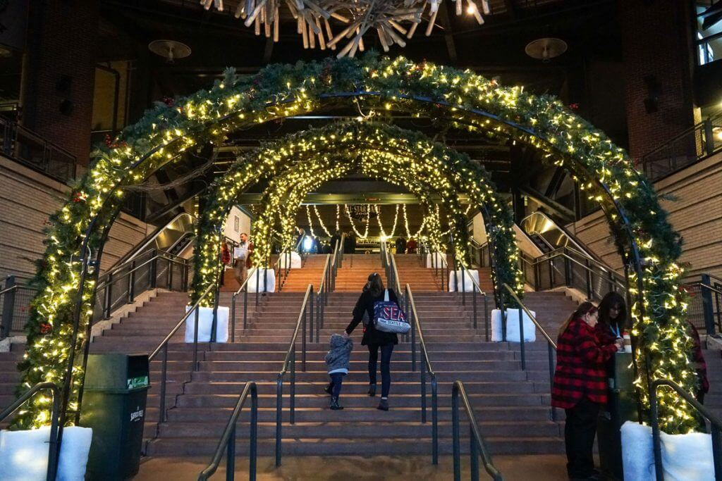 Photo of the entrance to Enchant Christmas, Seattle's Christmas event at Safeco Field #enchantchristmas #enchantseattle #christmasevent #christmaslights