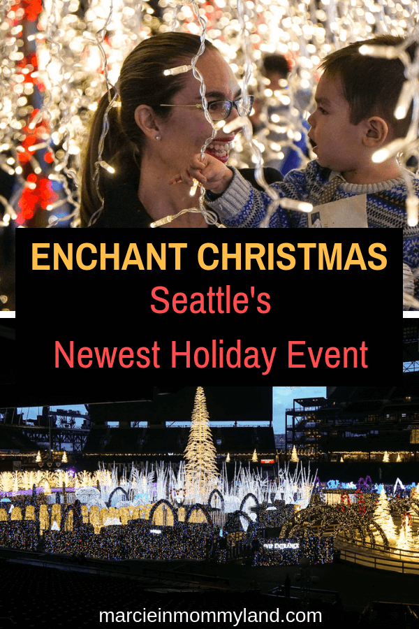 Are you looking for the newest Seattle Christmas event? Enchant Christmas is at Safeco Field and features the world's largest light maze. Click to read more or pin to save for later. www.marcieinmommyland.com #enchantseattle #enchantchristmas #seattlewa #christmasinseattle #pnw | Top Seattle blogger, Marcie in Mommyland, reviews Enchant Christmas in Seattle