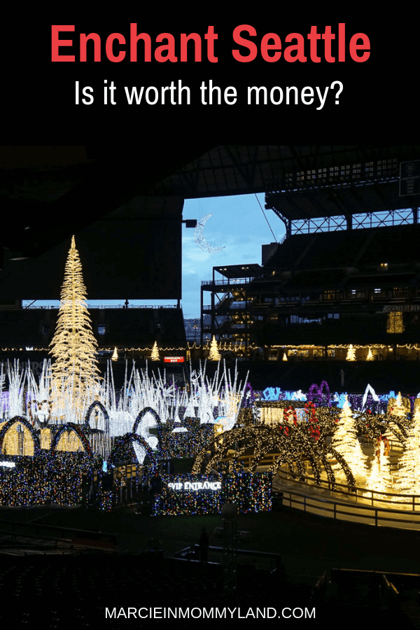 Are you wondering if Enchant Christmas in Seattle is worth the money? Find out all your ticket options and an insider peak inside. Click to read more or pin to save for later. www.marcieinmommyland.com #enchantseattle #enchantchristmas #seattlewa #safecofield #pacificnorthwest #christmas