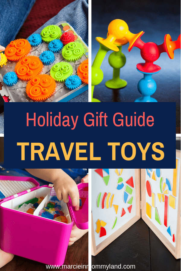 Looking for gifts for kids who love to travel? Find out gifts that are perfect for long airplane rides and road trips! Click to read more or pin to save for later. www.marcieinmommyland.com #holidaygiftguide #traveltoys #flyingwithkids #roadtrip #toys