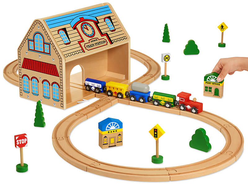 Lakeshore Take Along Train Set is fun for kids and it's portable. #lakeshore #trainset #toys | The Perfect Travel Gift Ideas for the Family Who Travels featured by top Seattle family travel blog, Marcie in Mommyland
