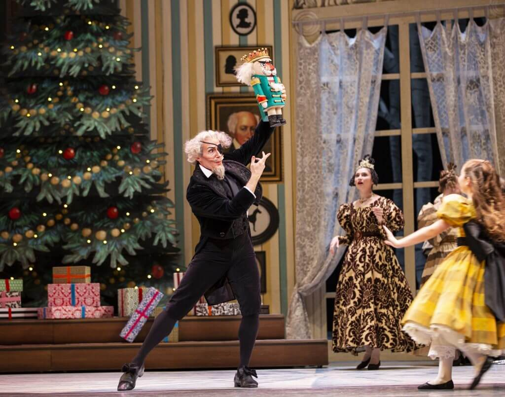 Pacific Northwest Ballet principal dancer Seth Orza as Herr Drosselmeier in a scene from George Balanchine's The Nutcracker®, choreographed by George Balanchine. Photo credit: Angela Sterling