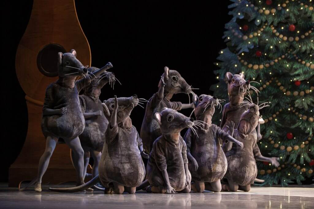 Eek – a mischief of mice! Pacific Northwest Ballet company dancers in a scene from George Balanchine's The Nutcracker®, choreographed by George Balanchine © The George Balanchine Trust. Photo credit: Angela Sterling