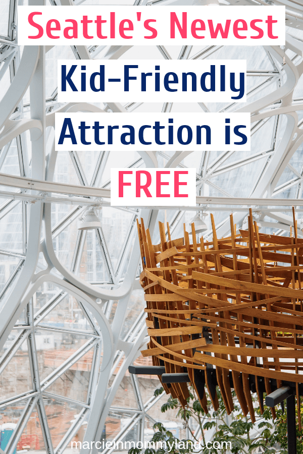 Looking for something fun to do in Seattle with kids? The Seattle Amazon Spheres is free, indoors, has a treehouse, plus you can get artisan doughnuts! Click to read more or pin to save for later. www.marcieinmommyland.com #thespheres #amazonhq #seattlewa