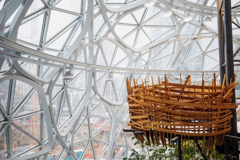 Construction progress of interior views of The Spheres, photographed Thursday, Aug. 31, 2017, in Seattle, WA. (JORDAN STEAD / Amazon) | Seattle Amazon Spheres tour featured by top Seattle family travel blogger, Marcie in Mommyland