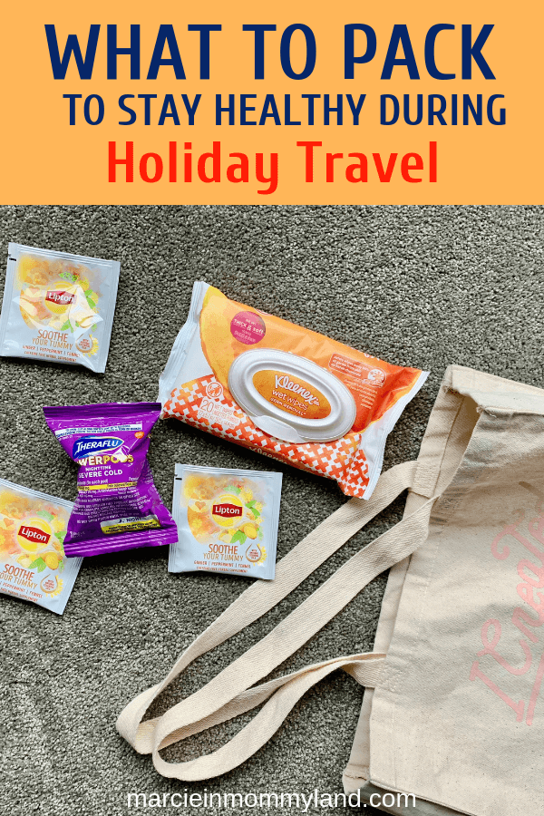 #ad Traveling this holiday season? Find out what to pack to stay healthy and soothe your symptoms. Click to read more or pin to save for later. www.marcieinmommyland.com #theraflu #kleenex #lipton