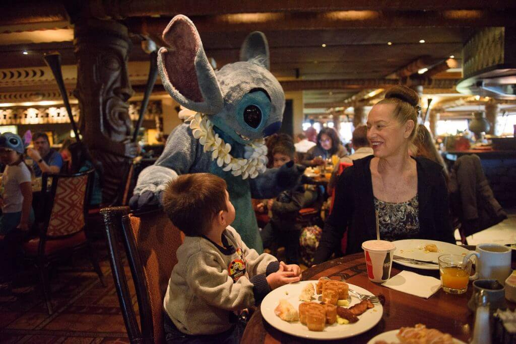 Photo of Stitch at the Ohana character breakfast at Disney's Polynesian Village Resort at Walt Disney World #Stitch #liloandstitch #disneyspolynesianvillageresort #waltdisneyworld #disneyworld