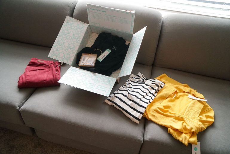 Photo of my styled Stitch Fix box from Dec 2018 | Stitch Fix review featured by top Seattle life and style blogger, Marcie in Mommyland: image of Stitch Fix unboxing