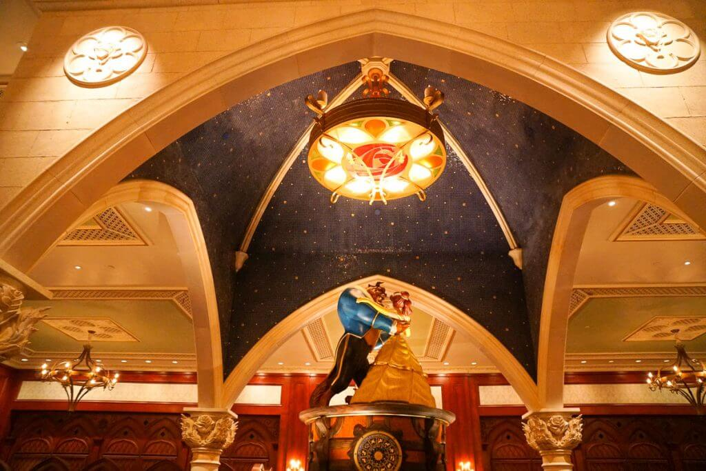 Photo of the Castle Gallery dining area at Be Our Guest restaurant at Walt Disney World's Magic Kingdom #beautyandthebeast #magickingdom #musicbox #belle #beast