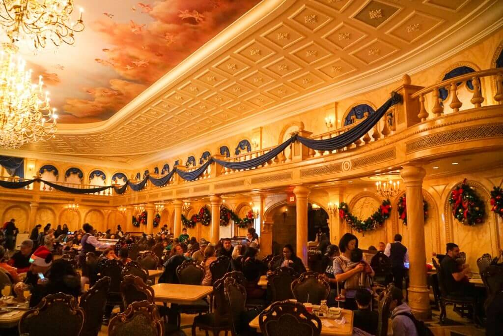 Photo of the Grand Ballroom dining area at Be Our Guest at Walt Disney World #beourguest #waltdisneyworld #disneyworld #beautyandthebeast