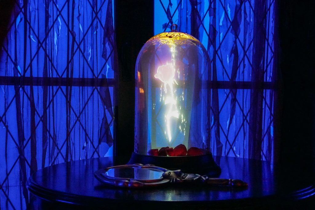 Photo of the rose from Beauty and the Beast inside the West Wing at Be Our Guest restaurant at Walt Disney World #beautyandthebeast #beourguest #disneyworld #waltdisneyworld #magickingdom