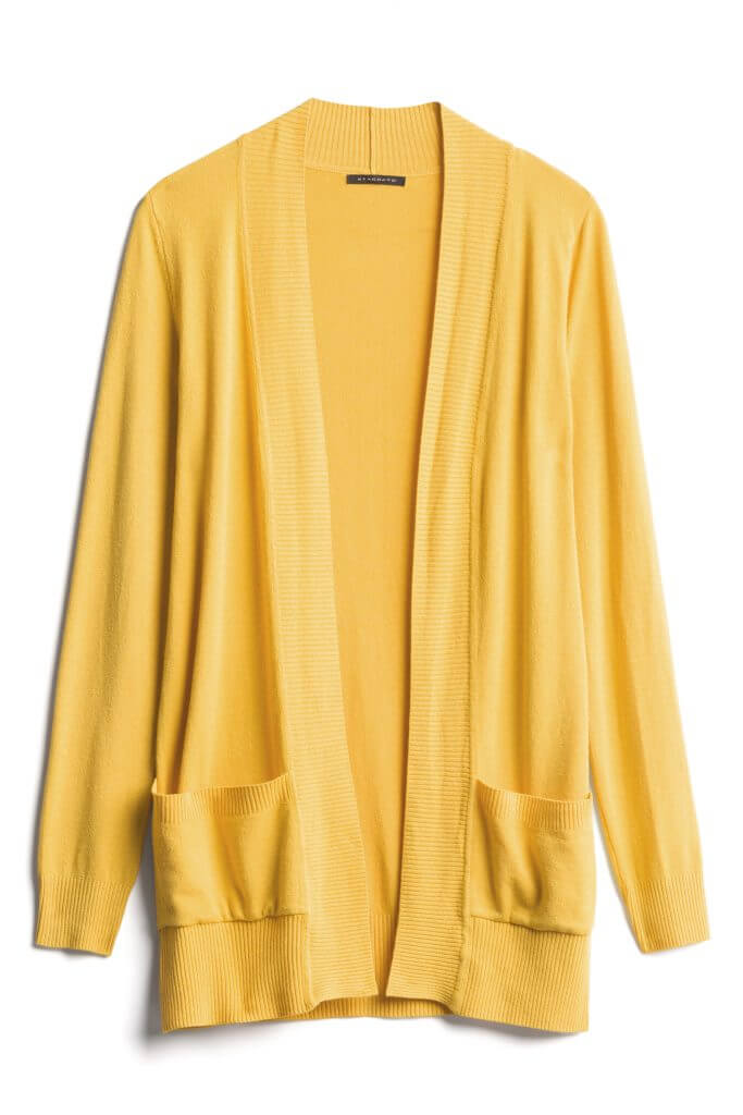 Photo of a womens Staccato cardigan from Stitch Fix specifically pulled by a Stitch Fix stylist for me #stitchfix | Stitch Fix review featured by top Seattle life and style blogger, Marcie in Mommyland: image of Stitch Fix yellow cardigan