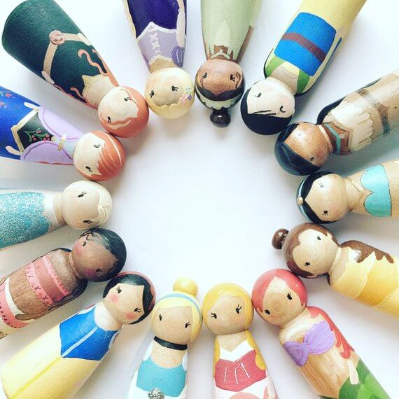 Best wooden toys for toddlers and preschoolers featured by top Seattle mommy blogger, Marcie in Mommyland: image of Wooden princess dolls