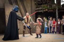 Star Wars fans will love battling Darth Vader and Kylo Ren at the Jedi Training Academy at Walt Disney World in Florida. #jeditraining #hollywoodstudios #wdw #waltdisneyworld #starwars | Jedi Training Academy Experience at Disney's Hollywood Studios featured by top Disney blogger, Marcie in Mommyland