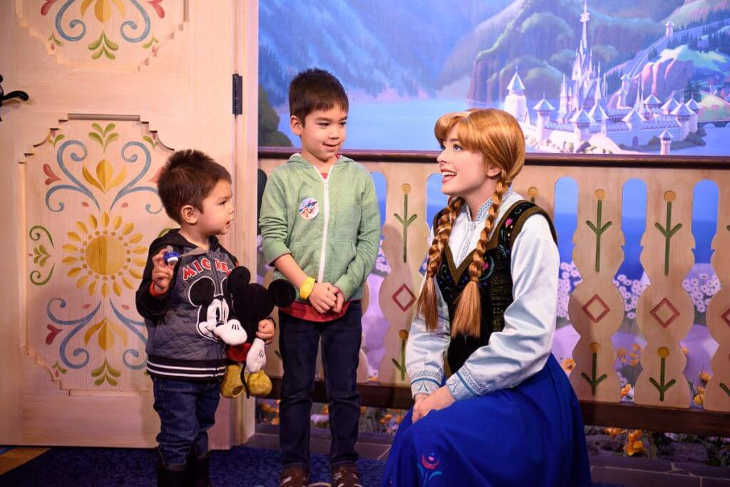 The best place to meet Anna and Elsa from Disney's Frozen at Walt Disney World is the Norway Pavilion at Epcot, and it's a must-stop attraction at Epcot with kids. #epcot #waltdisneyworld #frozen #disneyworld #annaandelsa