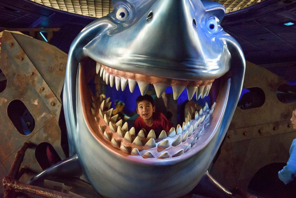 Bruce's Shark World is a fun indoor play area near Turtle Talk with Crush at Epcot at Walt Disney World in Orlando, Florida #findingnemo #waltdisneyworld #disneyworld #epcot