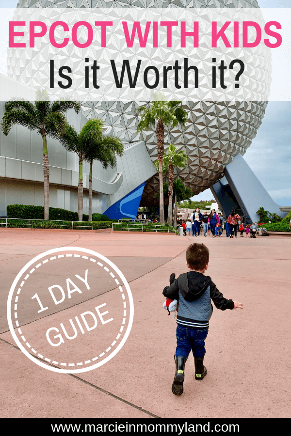Are you wondering if it's even worth bringing the kids to Epcot at Walt Disney World? Find out exactly what our family did at Epcot with a 5yo and 2yo, including kid-friendly dining, rides, attractions, and character meet and greets. Click to read more or pin to save for later. www.marcieinmommyland.com #epcot #waltdisneyworld #epcotwithkids #waltdisneyworld #disneyworld #familytravel