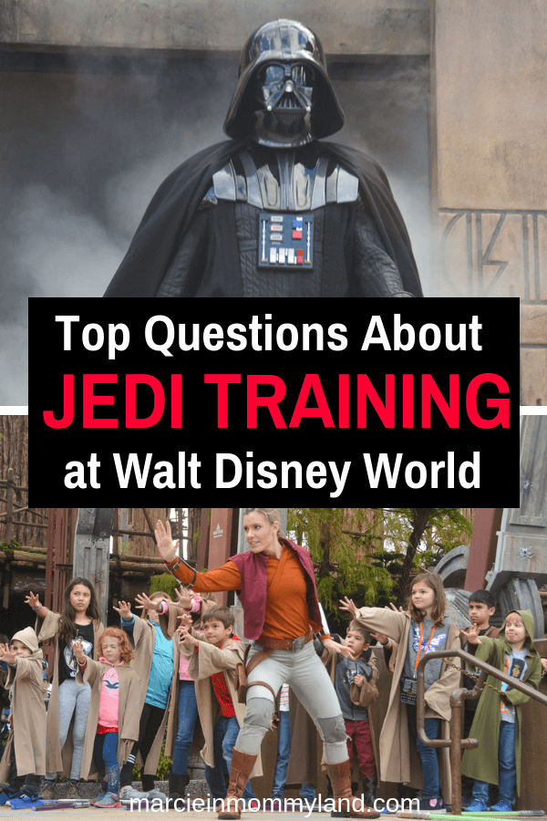 If you have a Star Wars fan (ages 4-12) and are heading to Walt Disney World in Florida, you probably want to sign up for the Jedi Training Academy. Get all your questions answered plus watch a video detailing the experience at Disney's Hollywood Studios. Click to read more or pin to save for later. www.marcieinmommyland.com #jeditraining #disneyworld #waltdisneyworld #starwars #hollywoodstudios