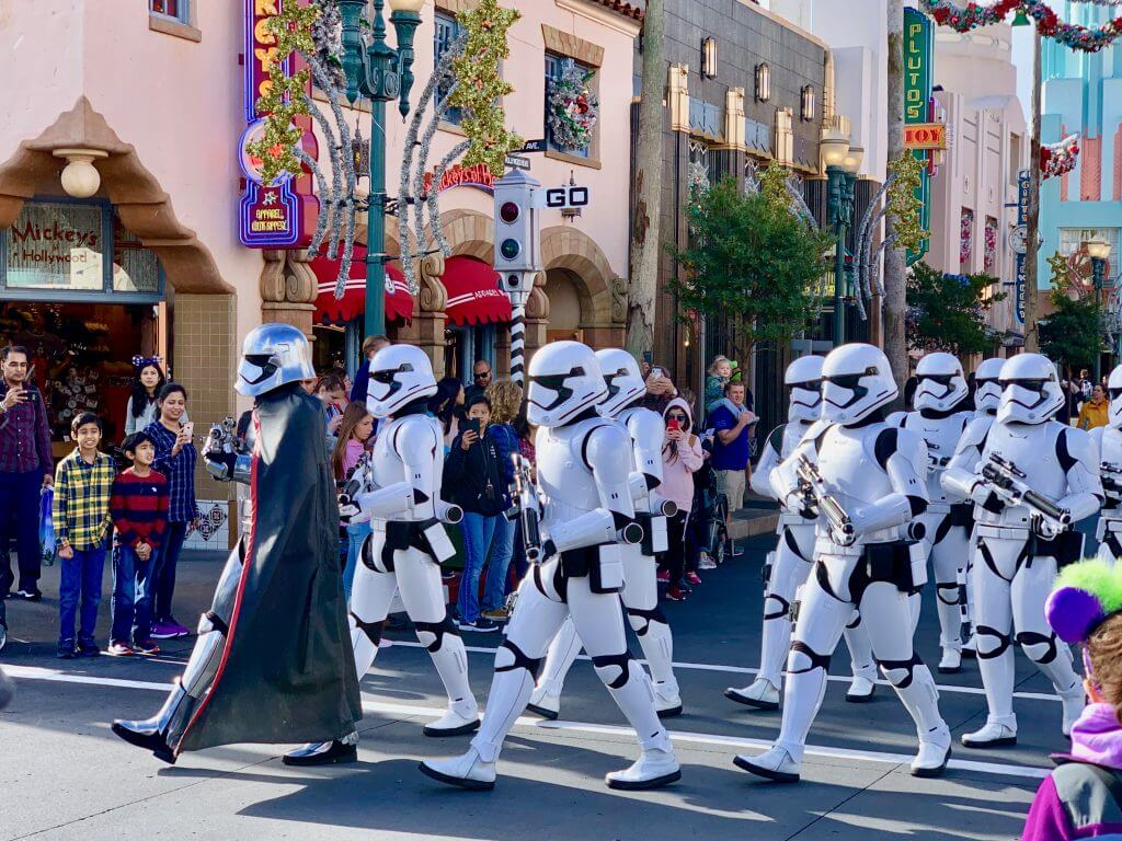 Star Wars fans will love seeing Stormtroopers marching and it's a must-see attraction at Disney's Hollywood Studios with kids.