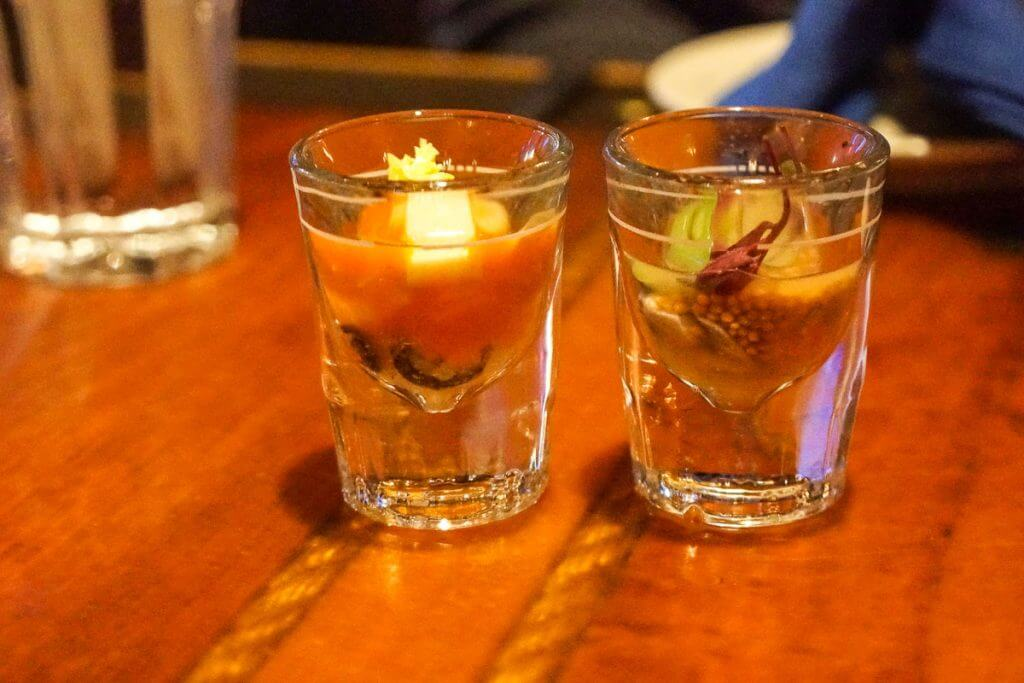 Try the oyster shooters off the happy hour menu at Fisherman's Restaurant & Bar for an awesome start to a Seattle date night.