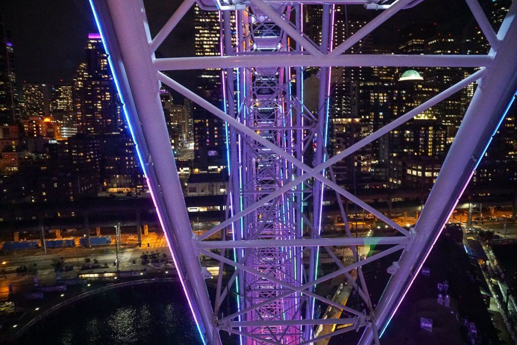 The Seattle Great Wheel is a fun Seattle date night spot and it has one of the most romantic Seattle views of the city.