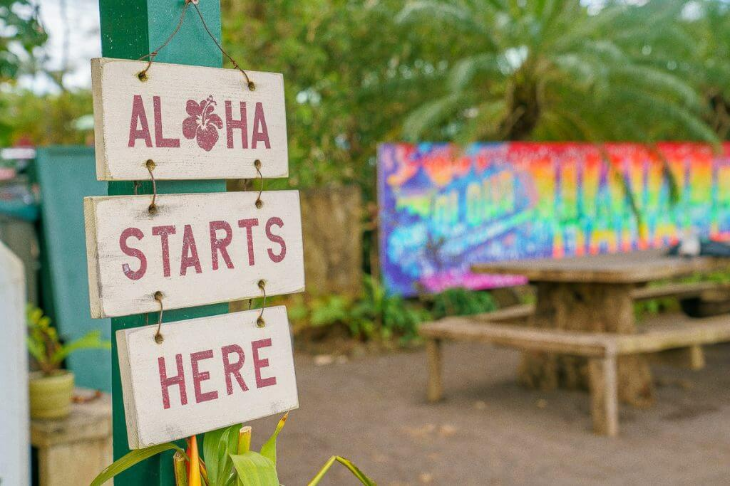 Wishing Well Shave Ice in Hanalei, Kauai features lots of artistic signs and murals and is located on Kauai's trendy North Shore.