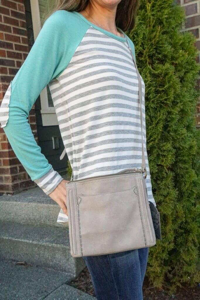 My March 2019 Stitch Fix box had a grey T-Shirt & Jeans Caren Double Zipper Crossbody Bag.