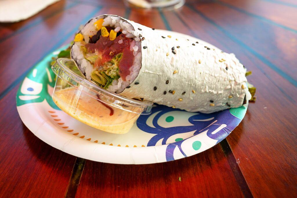 Sushi Girl is known for their sushi burrito and it's one of the best things to eat on Kauai and is part of the Kauai food tour through Tasting Kauai.
