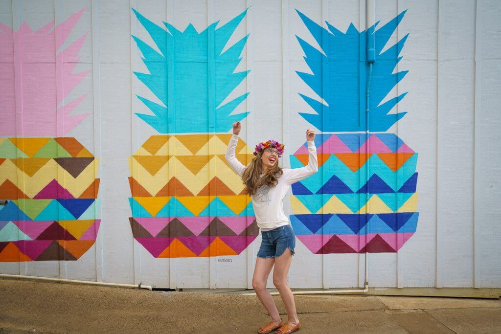 The pineapple wall at Kauai Juice Co. in Kapaa is one of the most Instagrammable spots on Kauai.