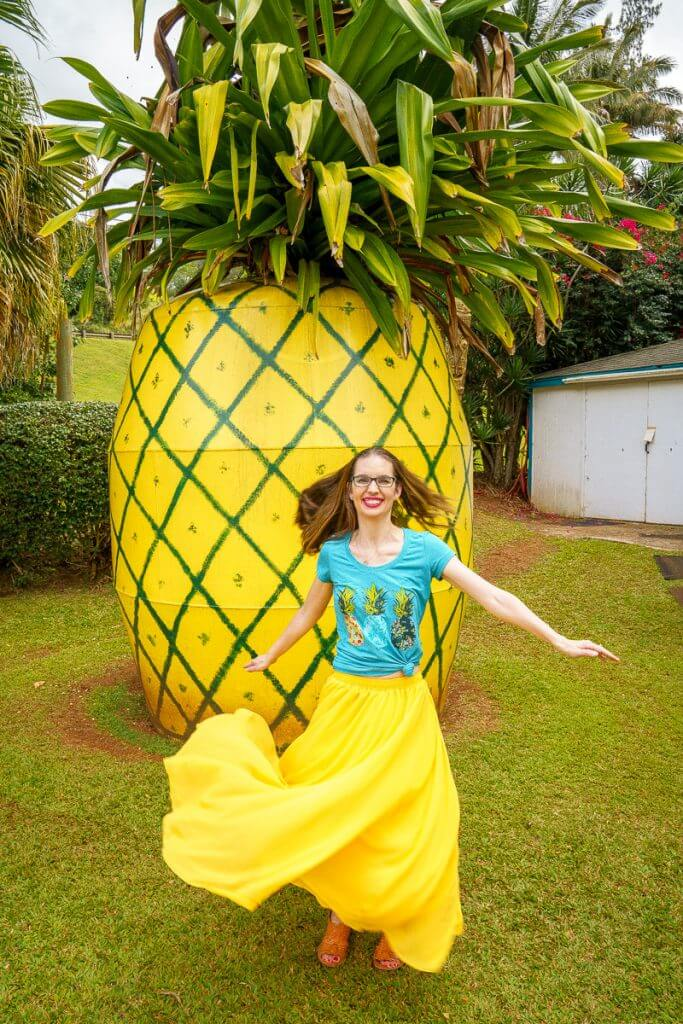 One of the best photo opportunities on Kauai is this giant pineapple roadside attraction at the Kauai Trading Post in Lawai.