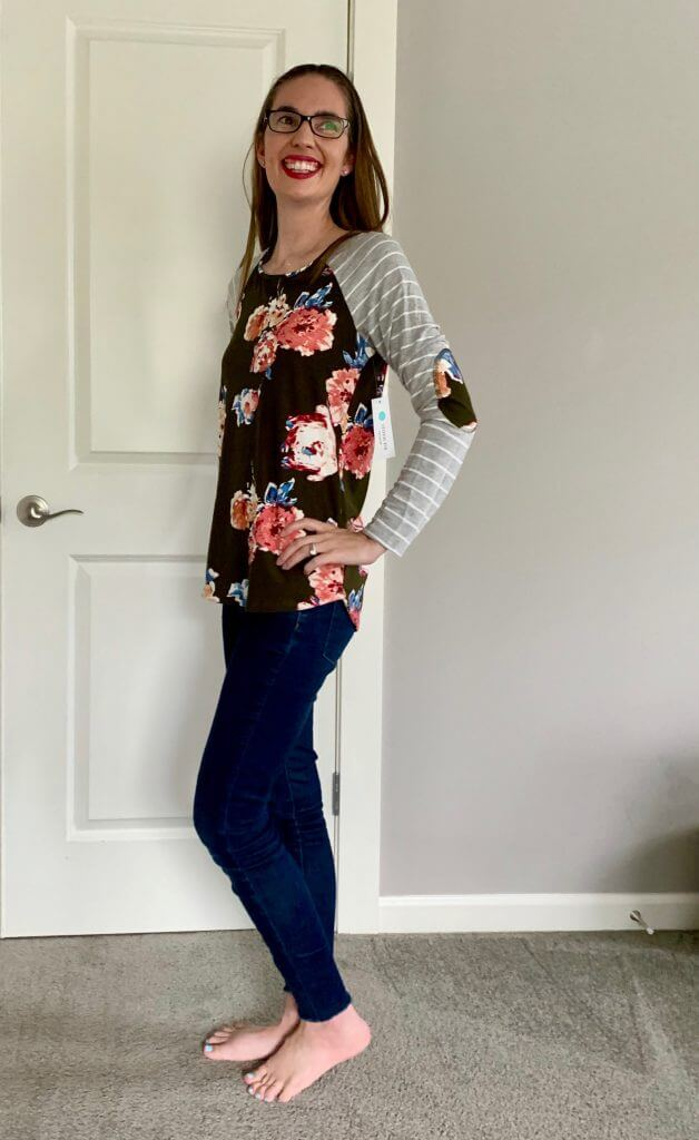 Stitch Fix unboxing: Danika Elbow Patch Detail Knit Top from PINK CLOVER