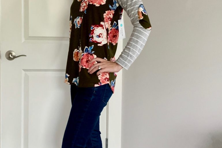 Stitch Fix Unboxing and Review for Spring featured by top US style blogger, Marcie in Mommyland: image of a woman wearing a Pink Clover elbow patch floral top