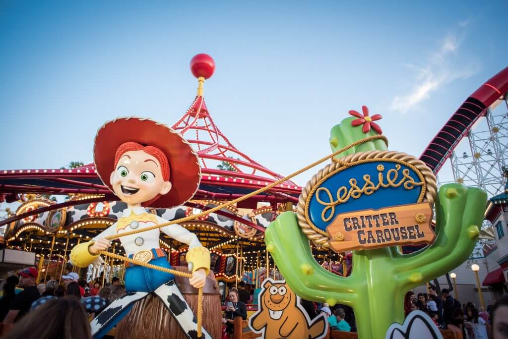 20 Essential Tips on How to Save Money at Disneyland featured by top US Disney blogger, Marcie and the Mouse: Families will love the brand new Jessie's Critter Carousel on Pixar Pier at Disney California Adventure. | How many days to spend at Disneyland and Disney California Adventure for your next trip to Disneyland with kids, featured by top US Disney blogger, Marcie in Mommyland