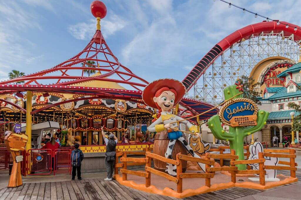 Families will love the brand new Jessie's Critter Carousel on Pixar Pier at Disney California Adventure.
