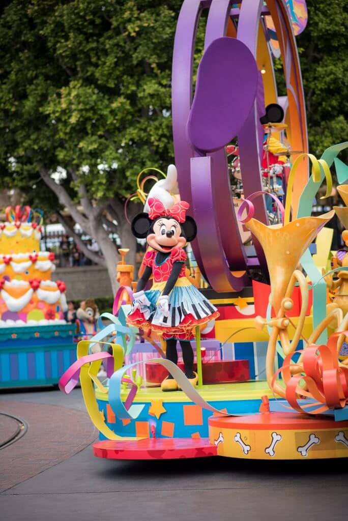 Minnie Mouse is one of the many characters you'll see at Mickey's Soundsational parade at Disneyland Resort.