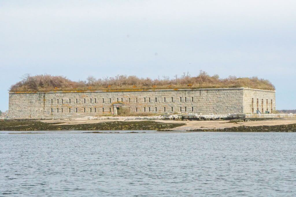 Fort Gorges was first designed for the Civil War and is completely surrounded by water and it's one of the main attractions on this Portland Maine cruise around Casco Bay.