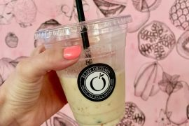 Portland Old Port Maine Food Tour featured by top US travel blogger, Marcie in Mommyland: Fresh almond milk smoothie from Blake Orchard in Portland Old Port as part of a Maine Foodie Tour.