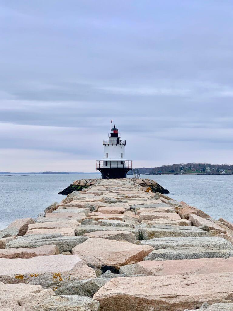 Spring Point Break Lighthouse in Portland, Maine is one of the many Maine lighthouses your see on the Portland Explorer tour.