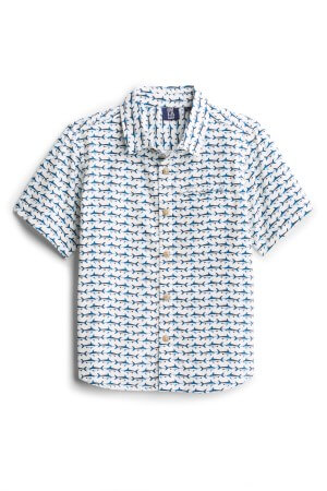 There are little swordfish on this PX Matteo Short Sleeve Woven Shirt for boys.