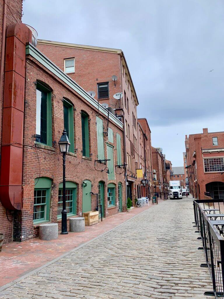 Portland Old Port is full of cobblestone streets made with pavers.