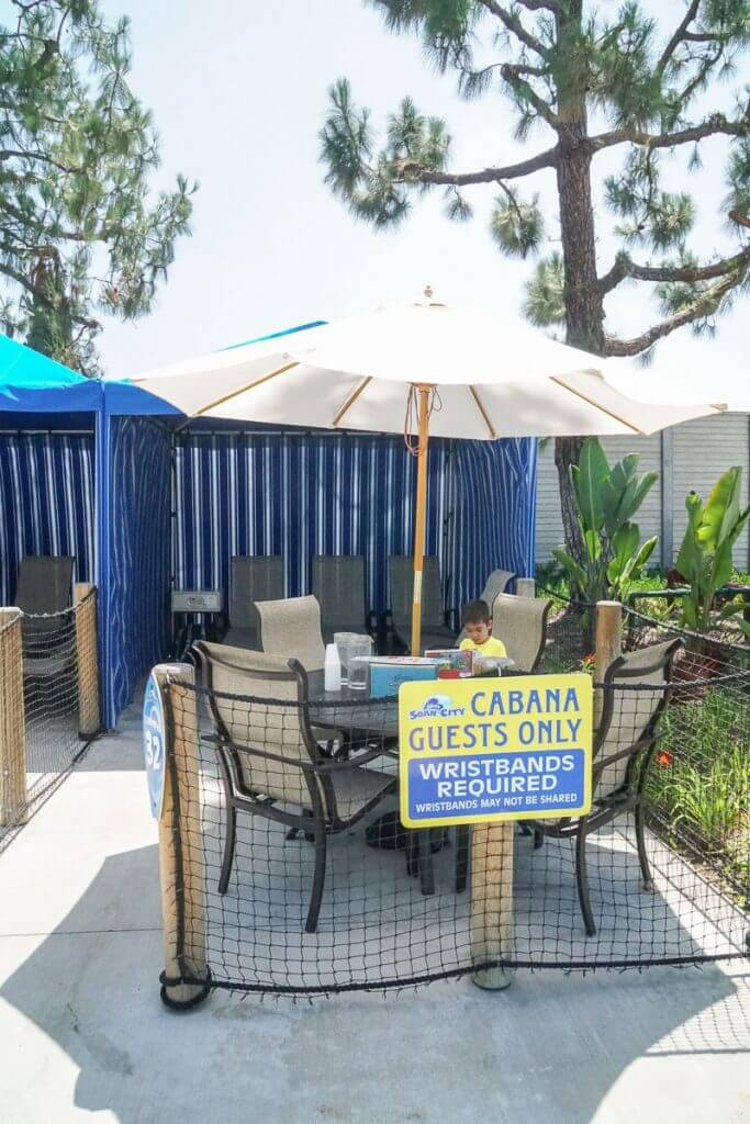 If you want a shaded place at Knott's Soak City, rent a cabana, which comes with a private safe, a waiter, unlimited ice water, and lots of amenities!