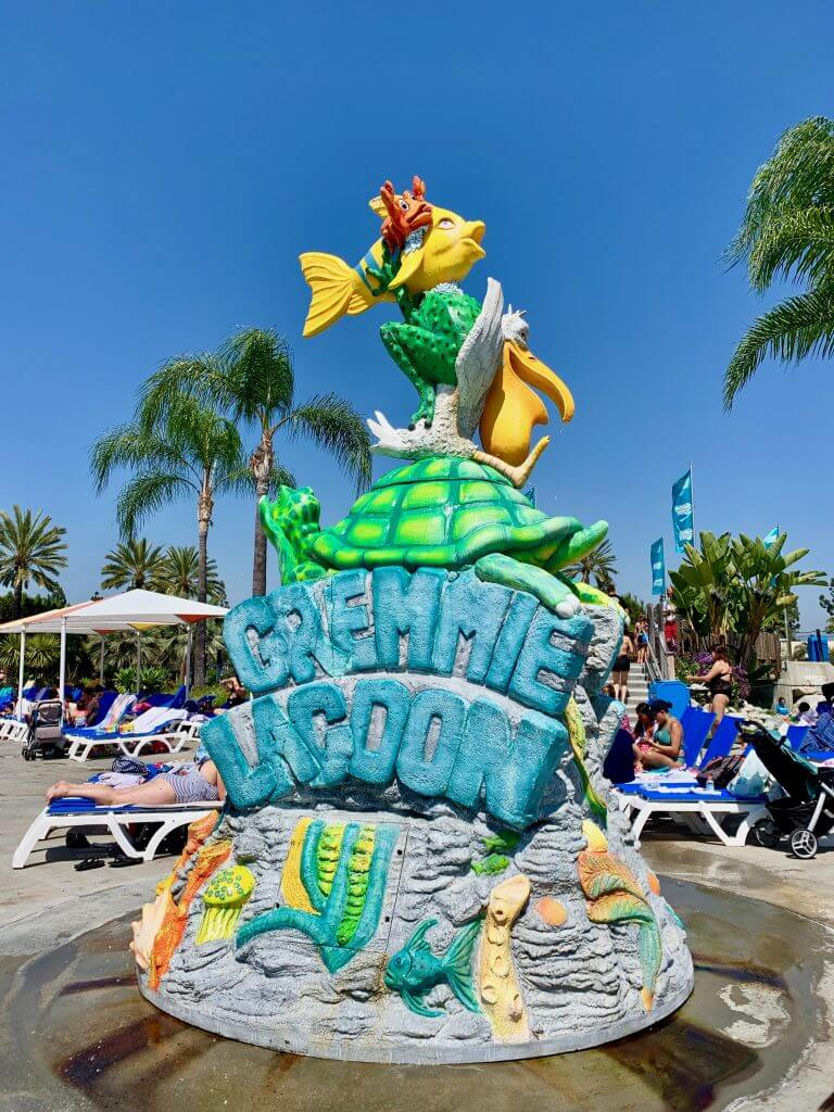 Babies, toddlers, and preschoolers will love playing in Gremmie Lagoon, a waterpark geared just for little kids at Knott's Soak City.