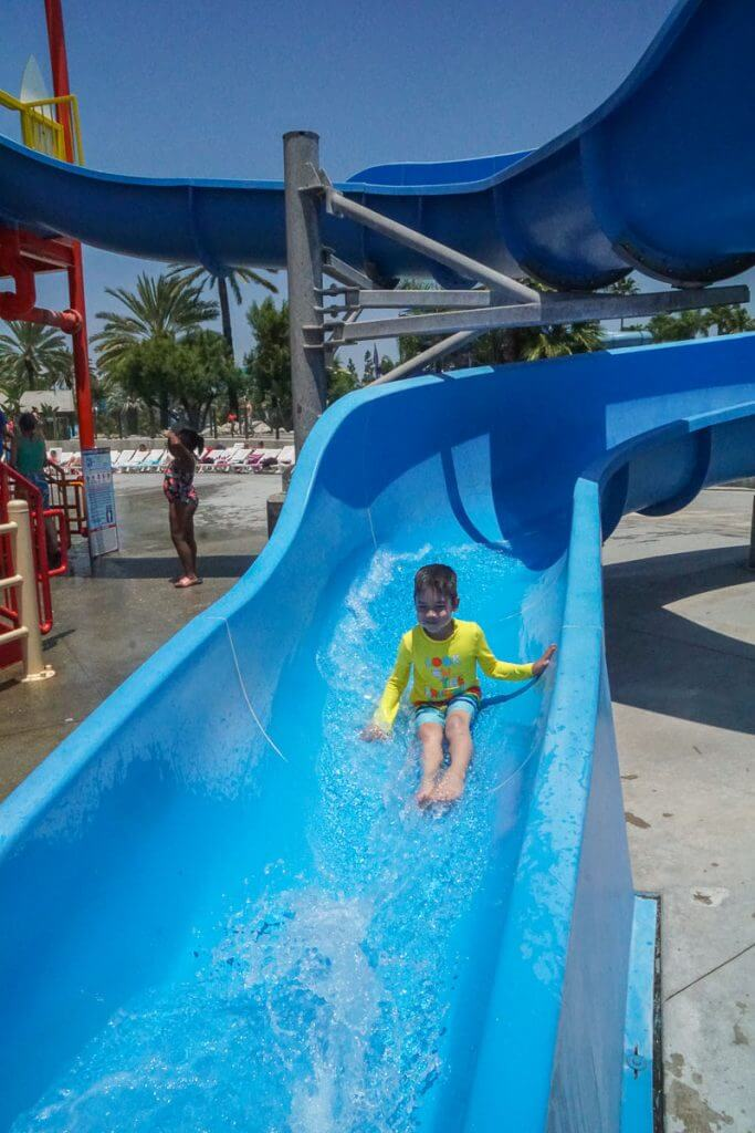 The Beach House is a great place for younger kids to race down smaller waterslides at Knott's Berry Farm Soak City.