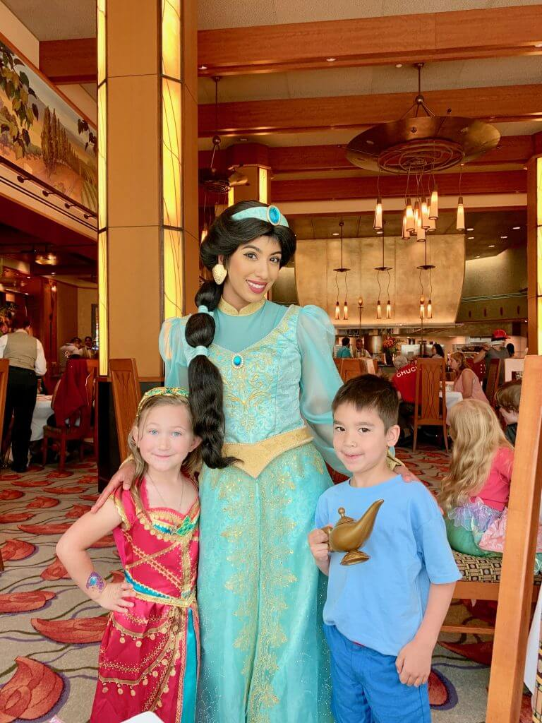 Princess Jasmine took a lot of time interacting with the kids at the Disney Princess Breakfast Adventure, the newest Disneyland character breakfast.